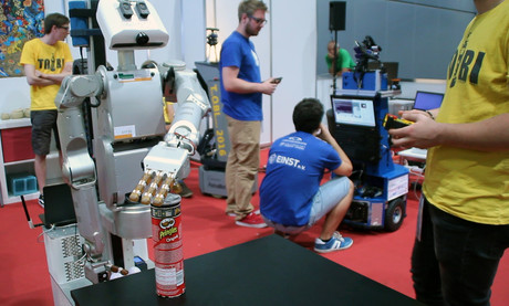 CITEC's service robot Floka made its first appearance at this year's RoboCup world championship. Photo: CITEC/Bielefeld University
