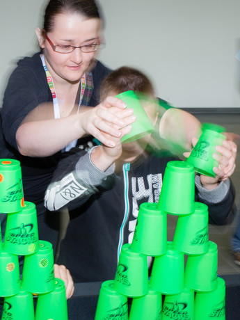 "Participants need nimble hands and a quick mind for a hands-on activity called ""Speedstacking."" Photo: CITEC"