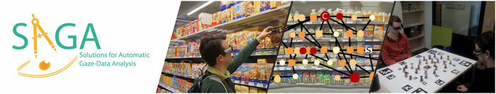 Wearing a pair of smart glasses, Dr. Thies Pfeiffer picks out muesli at a grocery store (left image). His eye movements are recorded and analysed (middle image). The smart glasses also allow researchers to analyse which areas in a 3-dimensional environment are especially interesting to the test subjects (right image). Photo: CITEC.