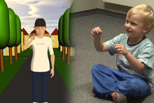 A model demonstrates the gestures that children use to complement their verbal statements.