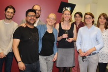Ricarda Wullenkord (fourth from right) at the graduation ceremony with the work group Applied Social Psychology and Gender Research. Photo: CITEC/Bielefeld University